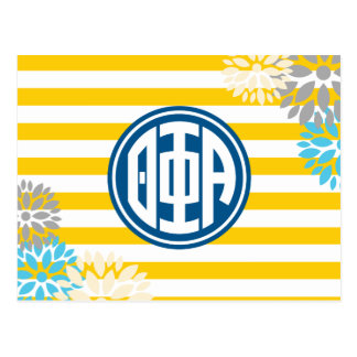 Theta Phi Alpha   Monogram Stripe Pattern Postcard