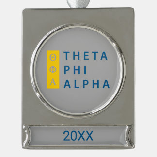 Theta Phi Alpha Stacked Silver Plated Banner Ornament