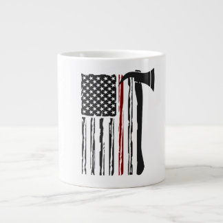 they american flag to firefighter large coffee mug