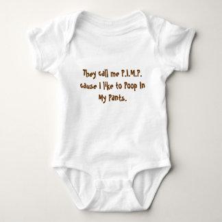They call me P.I.M.P. cause I like to Poop In M... Baby Bodysuit