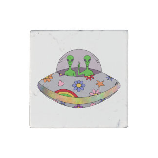 They Come in Peace UFO Stone Magnet