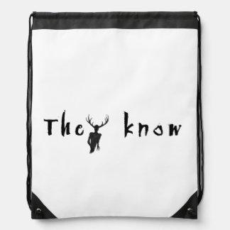 They Know - drawstring backbag Drawstring Bag