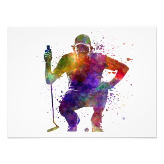 they man to golfer crouching silhouette