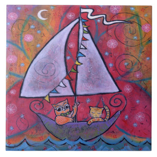 They Sailed by the Light of the Moon Owl and Cat Tile