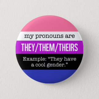 They/Them Pronouns–Genderfluid Flag 6 Cm Round Badge