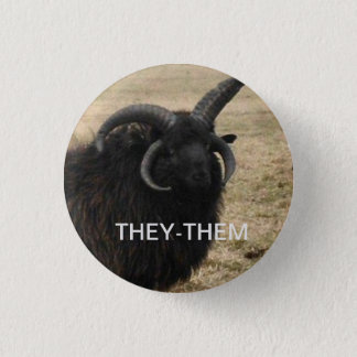 """""""They-Them"""" with serious goat 3 Cm Round Badge"""