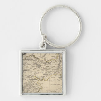 Thibet, Mongolia, and Mandchouria Silver-Colored Square Key Ring
