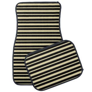 Thick and Thin Beige and Black Stripes Car Mat