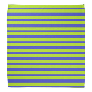 Thick and Thin Blue and Lime Green Stripes Bandana