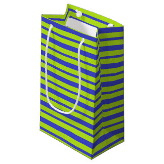 Thick and Thin Blue and Lime Green Stripes Small Gift Bag