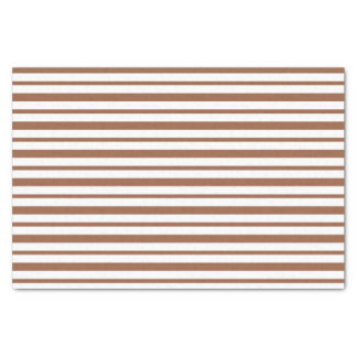 Thick and Thin Brown and White Stripes Tissue Paper