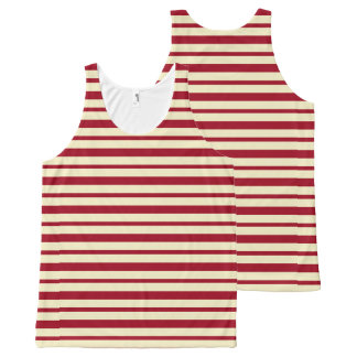 Thick and Thin Burgundy and Cream Stripes All-Over Print Singlet
