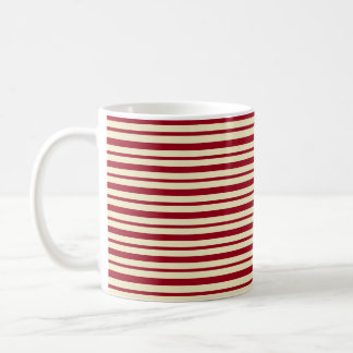Thick and Thin Burgundy and Cream Stripes Coffee Mug