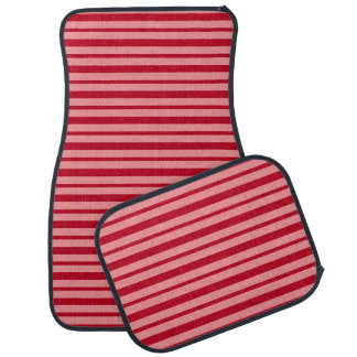Thick and Thin Burgundy and Salmon Stripes Car Mat