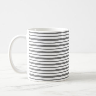 Thick and Thin Charcoal Gray and White Stripes Coffee Mug