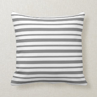 Thick and Thin Charcoal Gray and White Stripes Cushion