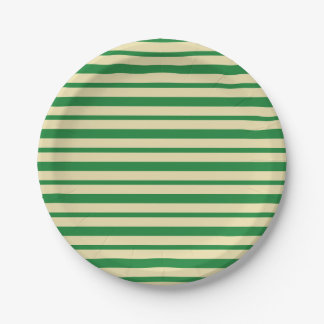 Thick and Thin Dark Green and Beige Stripes Paper Plate