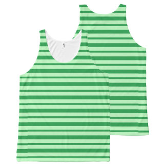 Thick and Thin Green Stripes All-Over Print Singlet