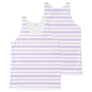 Thick and Thin Lavender and White Stripes All-Over Print Singlet