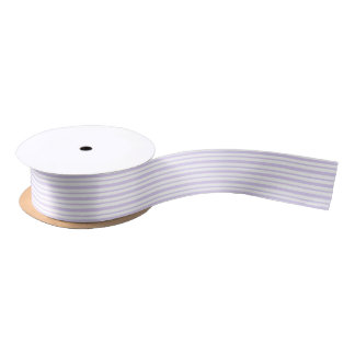 Thick and Thin Lavender and White Stripes Satin Ribbon