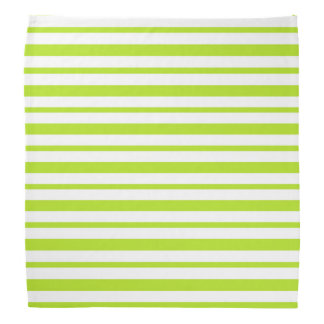 Thick and Thin Lime Green and White Stripes Bandana