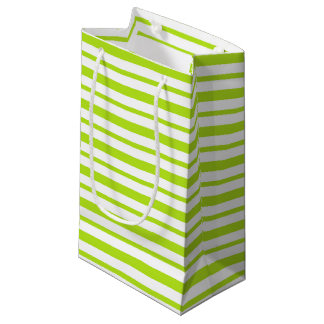 Thick and Thin Lime Green and White Stripes Small Gift Bag