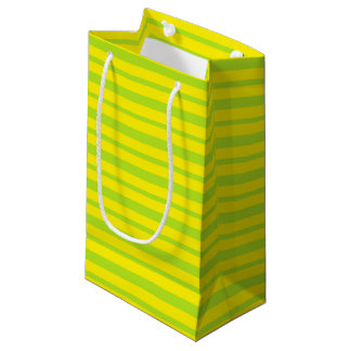 Thick and Thin Lime Green and Yellow Stripes Small Gift Bag