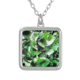 Thick green cabbage leaves silver plated necklace