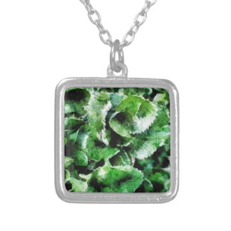 Thick green leaves silver plated necklace