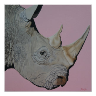 """Thick Skinned"" Rhino on pink background."