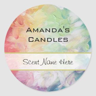 Thick Textured Abstract Paint Candle Classic Round Sticker