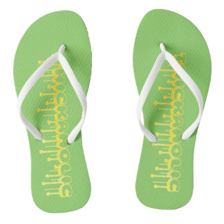 Thickaholic, Green & Yellow Pair of Flip Flops Thongs