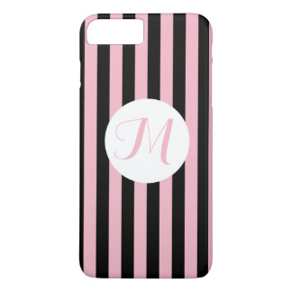 Thin Black Stripes Pink Black and White Monogram iPhone 8 Plus/7 Plus Case
