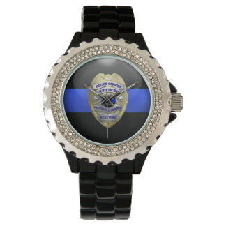 Thin Blue Line - 2-Tone Gold Retired Police Badge Watch