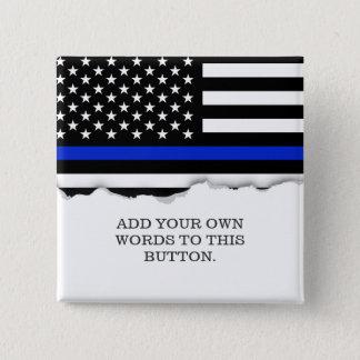 Thin Blue Line American Flag 15 Cm Square Badge