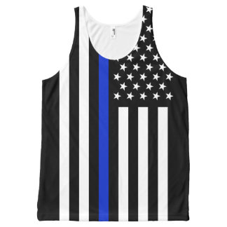 Thin Blue Line American Flag All-Over Print Singlet