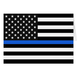 Thin Blue Line American Flag Card