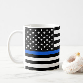 Thin Blue Line American Flag Coffee Mug