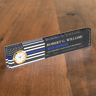 Thin Blue Line American Flag Custom Desk Nameplate