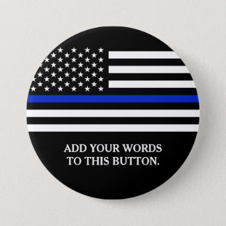 Thin Blue Line American Flag Custom Text 7.5 Cm Round Badge