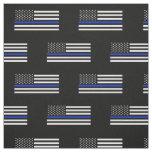 Thin Blue Line American Flag Fabric