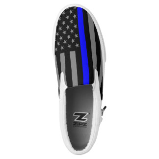 Thin Blue Line American Flag graphic design on Printed Shoes
