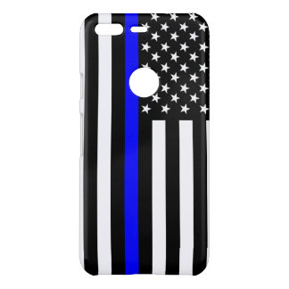 Thin Blue Line American Flag graphic on a Uncommon Google Pixel Case