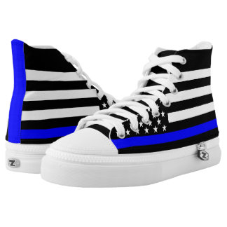 Thin Blue Line American Flag graphic on High Tops