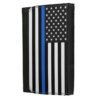 Thin Blue Line American Flag Leather Wallet