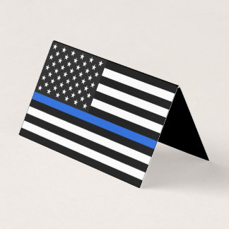 Thin Blue Line American Flag Memorial Card