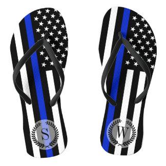 Thin Blue Line American Flag Monogram Thongs