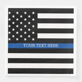 Thin Blue Line - American Flag Paper Napkins