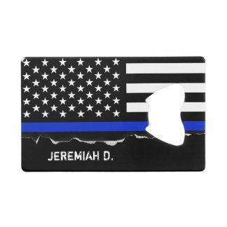 Thin Blue Line American Flag Personalized