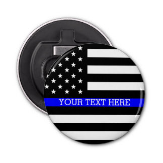 Thin Blue Line - American Flag Personalized Custom Bottle Opener